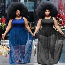 Net Yarn Beads Large Size 5XL Fashion Loose Dress Q7016