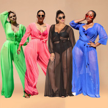 Sexy see-through mesh plus size women's jumpsuit Q7198