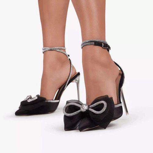 Crystal stiletto bow rhinestone pointed sandals S633326198470