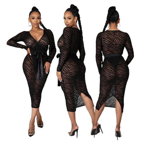 Fashion nightclub high stretch mesh dress SMR10308