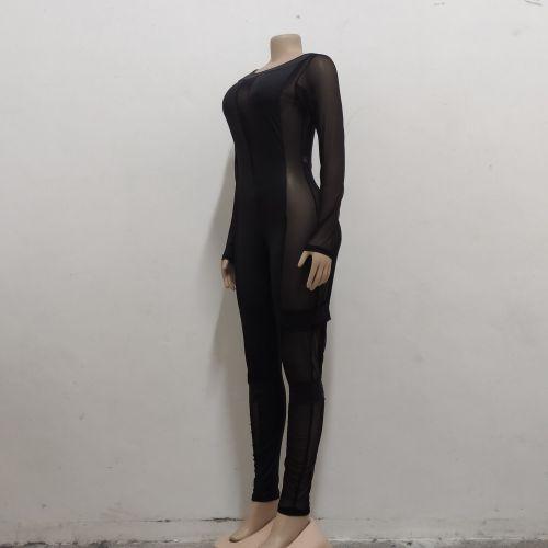 Fashion night show stretch mesh women's jumpsuit SMR10079
