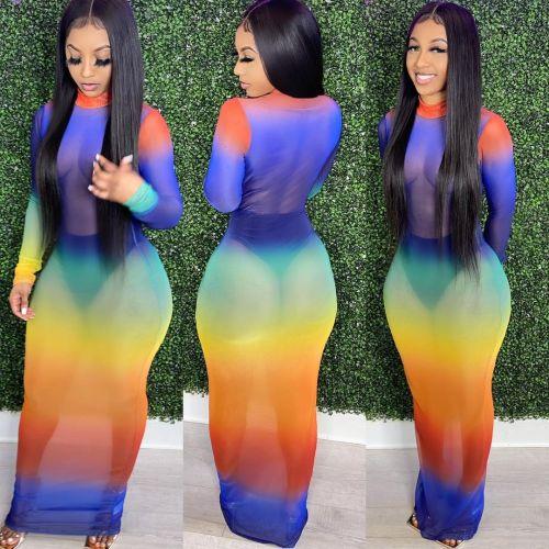 Fashion nightclub high stretch mesh printed dress SMR10222