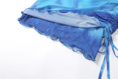 New mesh printed cardigan high waist bag hip skirt casual suit K21S01402