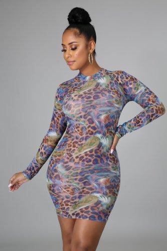 Fashion nightclub high stretch mesh printed dress SMR10237