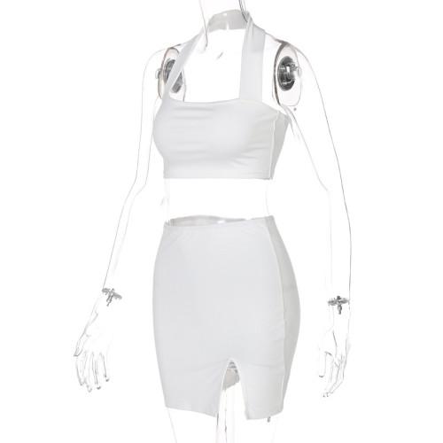Halter halter solid color short skirt suit S155123X