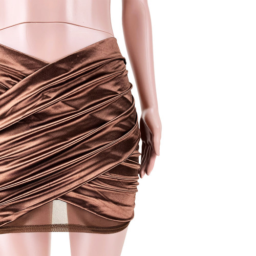 Hanging neck mesh stitching cross pleated reflective skirt suit GL6378