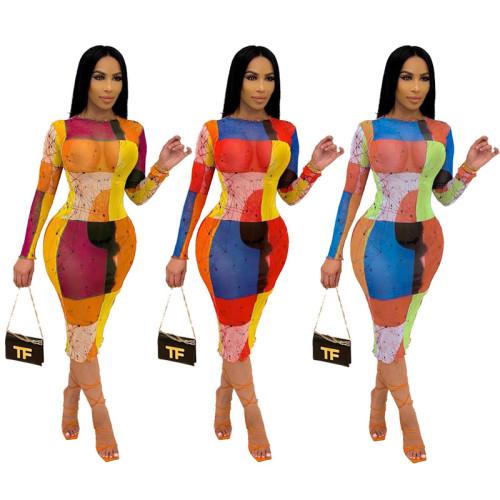 Fashion printed long-sleeved mesh dress S90073