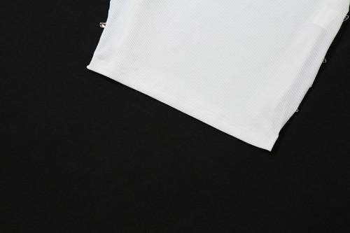 Long skirt sleeveless U-neck hollow sexy bag hip dress K21D02562