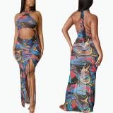 Summer net yarn perspective color matching abstract graffiti print long skirt FFZ1111