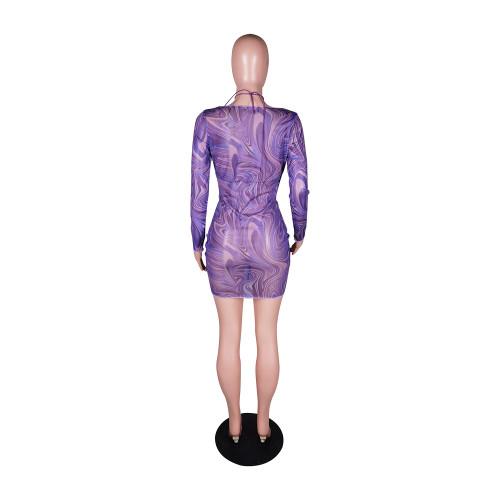 Sexy fashion mesh printed dress with bra drawstring YZ1274