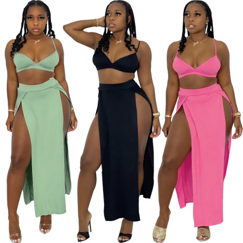 Sexy cute split skirt two-piece suit HY5232