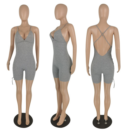 Sexy halter elastic strap one-piece five-point casual pants C654