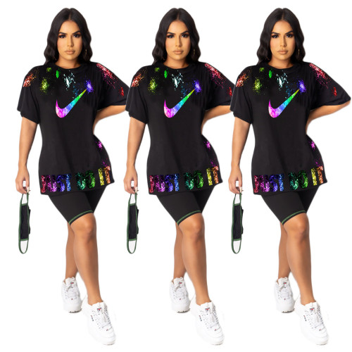 Printed long casual T-shirt multi-color options A8000