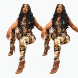Plus size women's clothing net celebrity digital printing jumpsuit FFZ1117