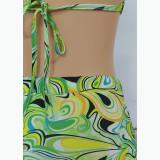 Sexy abstract print short skirt tie-up vest 2-piece set FFD1119