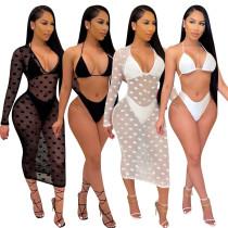 Polka dot bikini net gauze three-piece suit B753