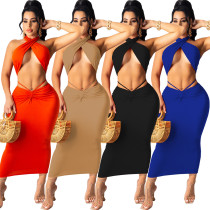 Fashion sexy solid color hollow wrap breast skirt suit WY6784