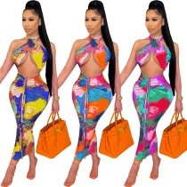Fashion sexy tie-dye hollow wrap-chest long skirt WY6794