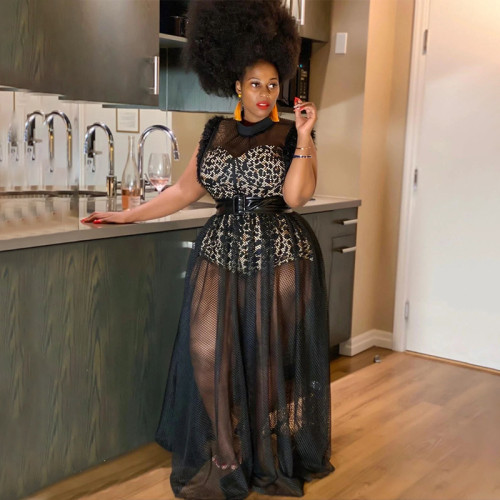 Women's temperament perspective sexy net yarn long skirt plus size dress two-piece suit N7135