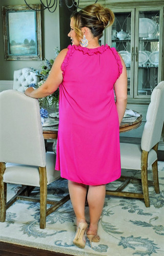 V-neck big skirt with wooden ears plus size women's dress W9309