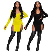 Solid color high waist V-neck split sexy nightclub style long sleeve dress W9305