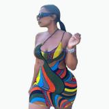 Sexy graffiti strap tight-fitting hip skirt dress FFD1122