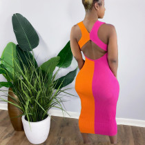 Fashion stitching pit strip dress Y5198