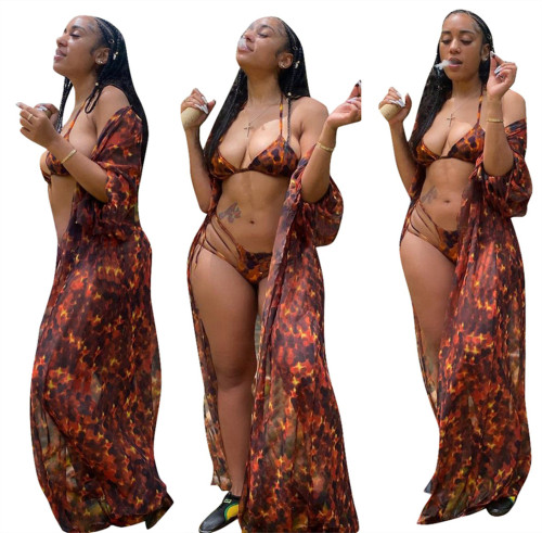 Fashion Digital Print Sexy Bikini Swimsuit + Blouse Three-piece Set LS6458