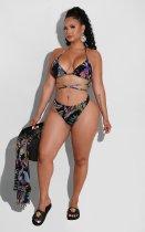 Women's sexy digital printing swimsuit mesh three-piece suit LS6449