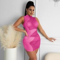 Women's sexy slim-fit mesh printed dress YM-8607