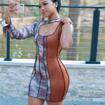 Women's single-sleeve contrast stitching dress D134621G