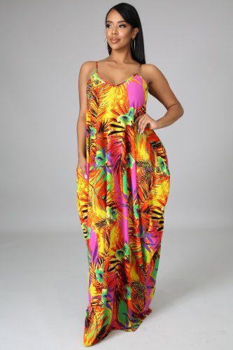 Plus size fashion floral long dress Q2037