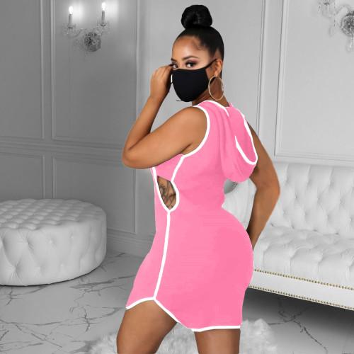 Fashion women's sexy casual print vest hat dress Q601