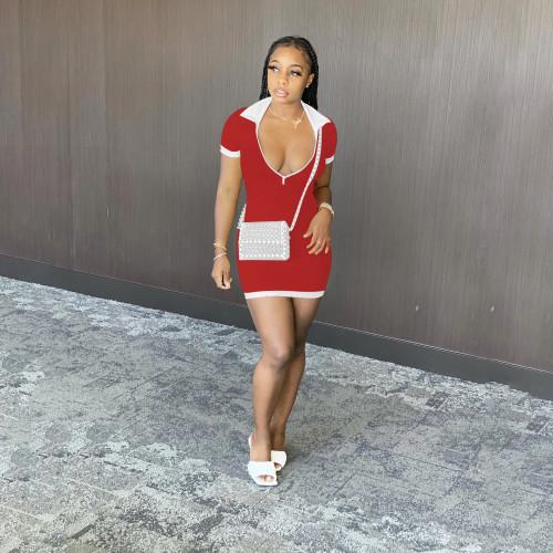 New Zipper Collar Short Sleeve Dress Hang Strip Sexy Short Skirt D88112