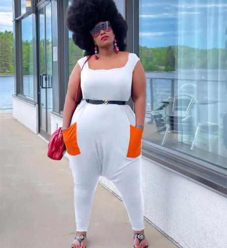 Fashion wide-leg casual plus size vest jumpsuit Y10011