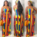 Large size color stitching sexy vest long dress Q2039