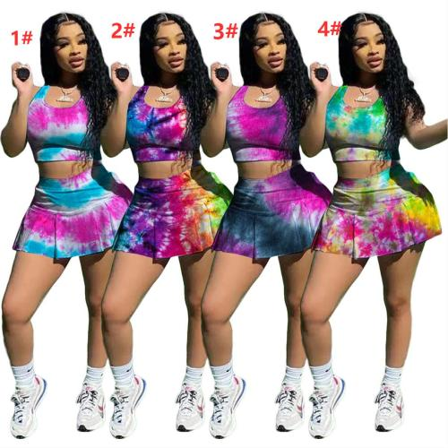 Fashion casual sexy tie-dye nightclub style slim-fit sports vest culottes two-piece suit H3708