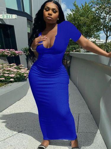 Fashionable Deep V Neck Sexy Dress Long Skirt H3718