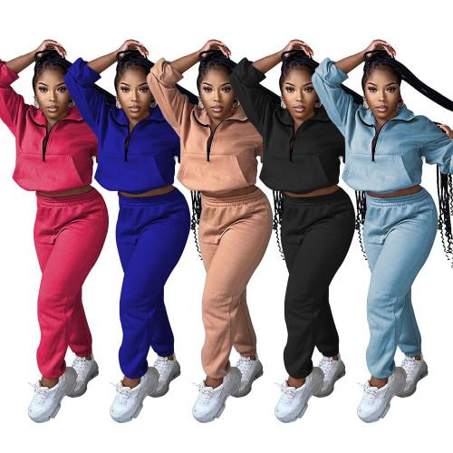 Women's solid color zipper sports suit fashion casual two-piece suit TC089
