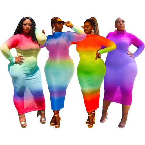 Plus size clothing fashion casual tie-dye printed dress women Q77228-1