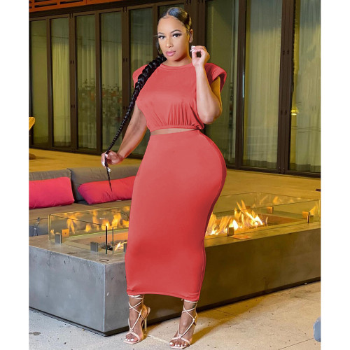 Women's solid color round neck cute sexy skirt two-piece suit TC086