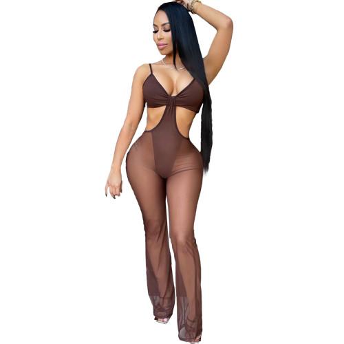 Mesh sexy beach bikini jumpsuit swimsuit L242