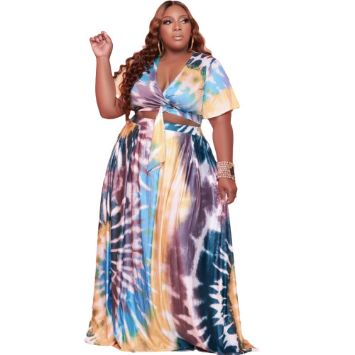 Plus size women's printed fashion casual two-piece suit Q77216