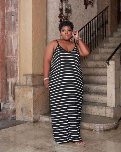 Striped print dress plus size women's clothing L-5XL home service TC087