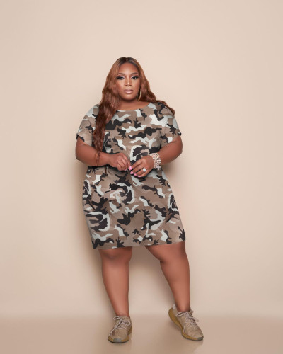 Fashion camouflage sexy plus size dress YC084