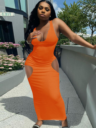 Camisole, deep V-neck, slim sexy long dress L240