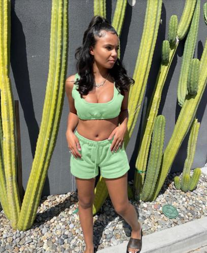 Fashion casual sports shorts vest suit women F154