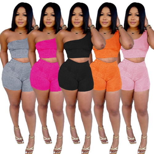Fashion casual solid color one-shoulder strap vest top shorts two-piece trousers suit F146-1