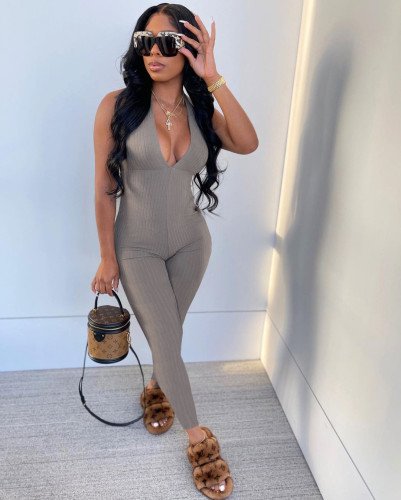 Hanging striped chest-wrapped strappy jumpsuit trousers L251