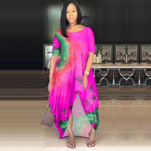 Women's color tie-dye fashion loose skirt multicolor dress Q7022